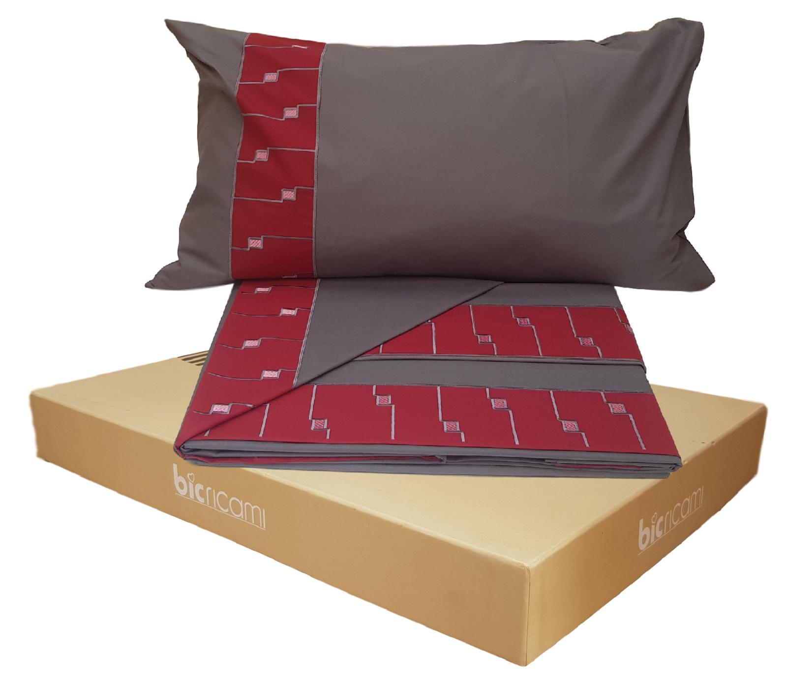 BIC RICAMI LOLA. Completo letto, lenzuola in 100% Cotone. Matrimoniale, 2 piazze