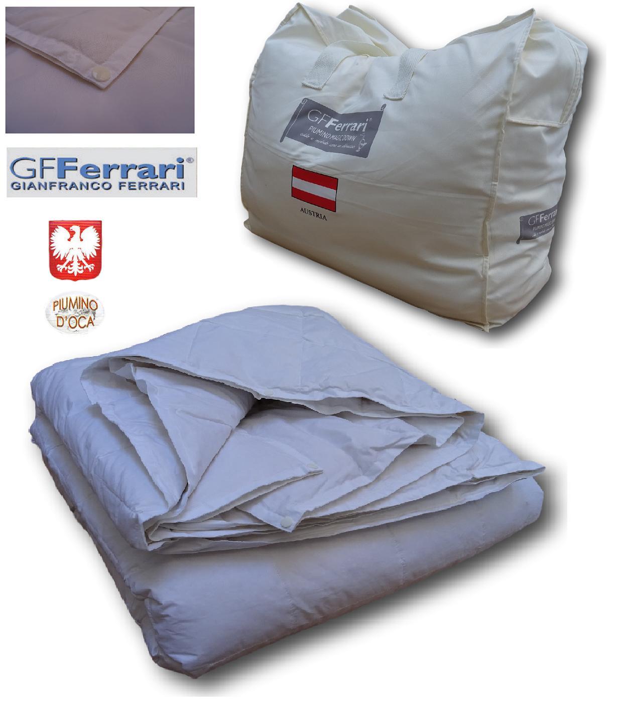 GF. FERRARI, TRENTO. Piumino d' oca 100%, 4 Stagioni 100% Cotone. Peso 300 gr/mq