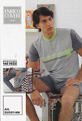 ENRICO COVERI EUC8716N. Pigiama Uomo 3 pezzi. Pantalone corto + Lungo. Cotone.