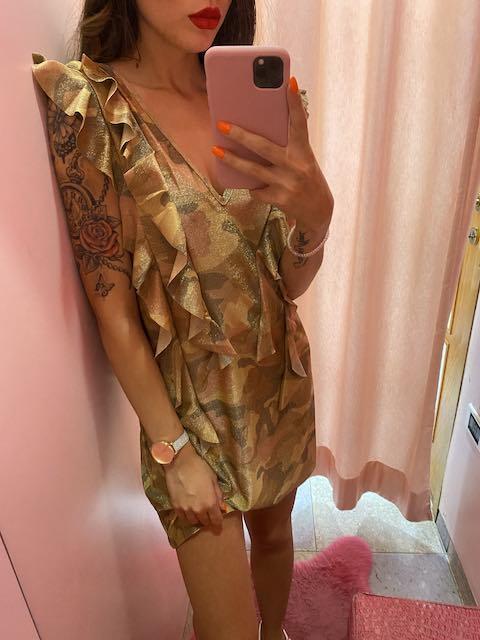 Abito corto lurex camouflage Cotazur Taglia L