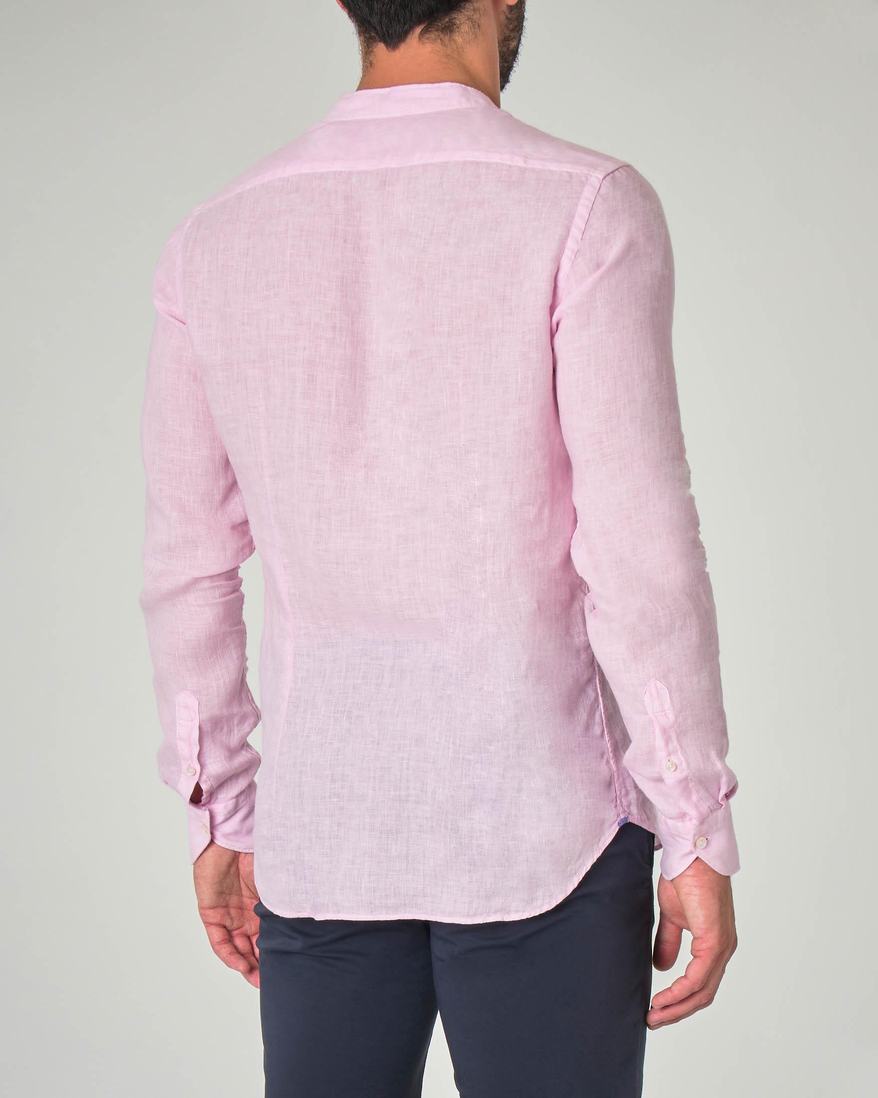 Camicia rosa in lino con collo a coreana