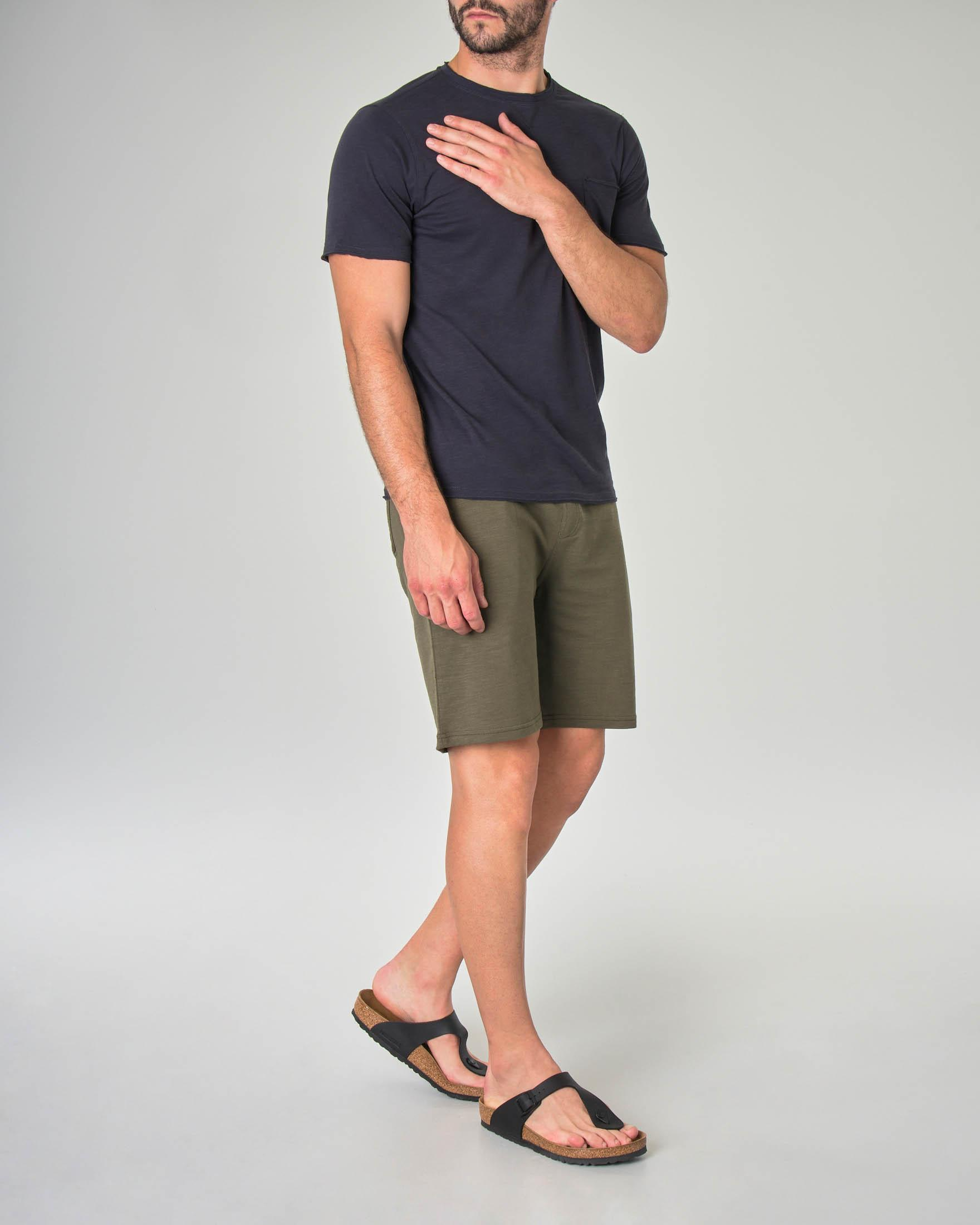 T-shirt blu in cotone fiammato taglio felpa con taschino