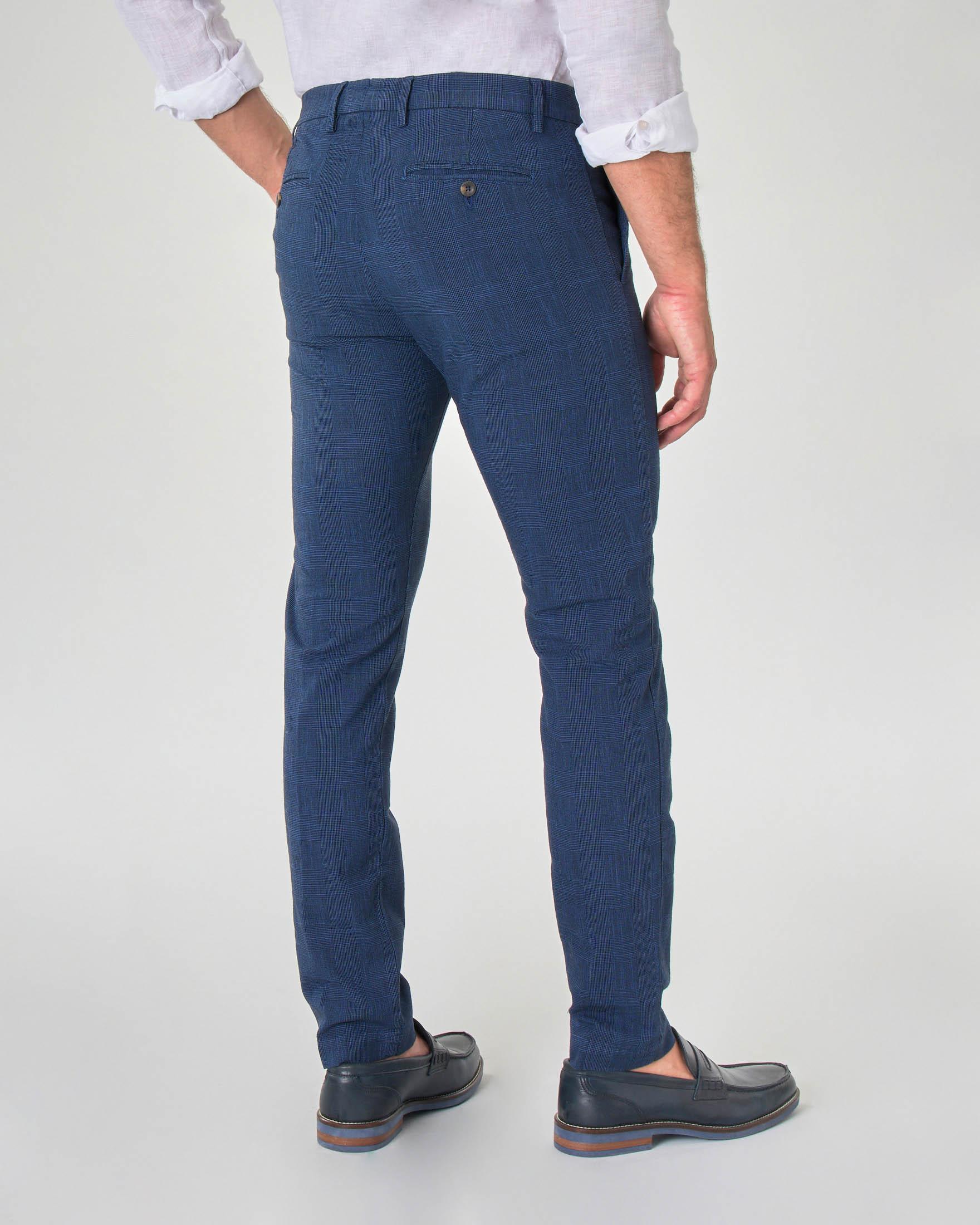Pantalone chino blu indaco principe di Galles in misto cotone e lino