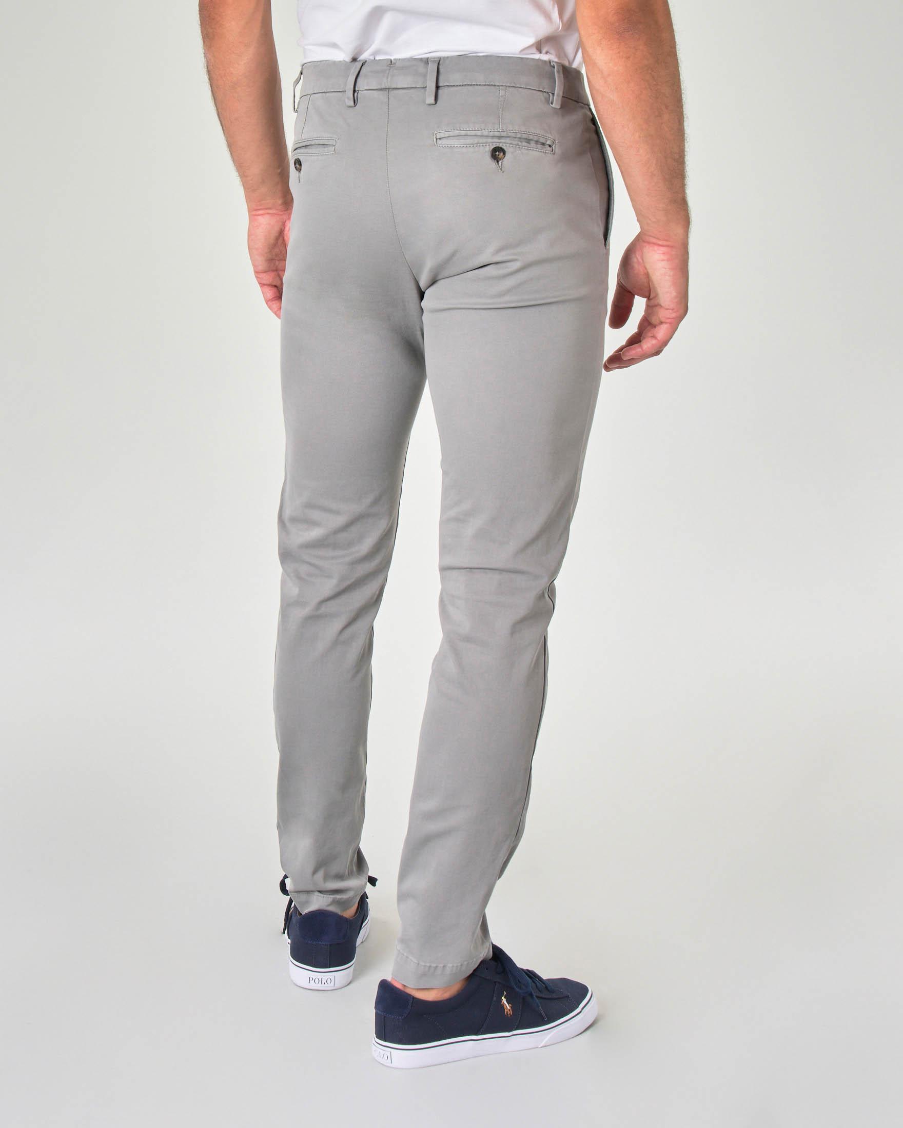 Pantalone chino grigio in tricotina di cotone stretch