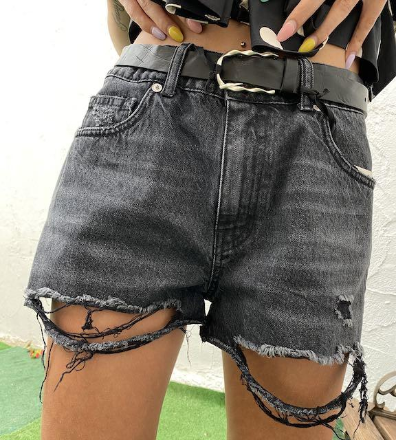 Shorts Vicolo Denim Nero Strappato