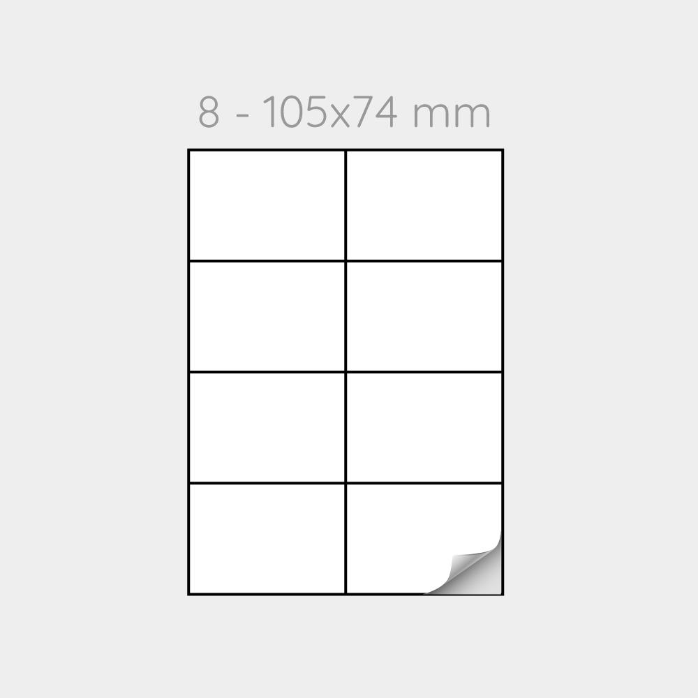 FOGLIO A4 PER STAMPANTI LASER SUDDIVISO IN 8 ETICHETTE 105x74 mm IN PP  - 1000 FOGLI