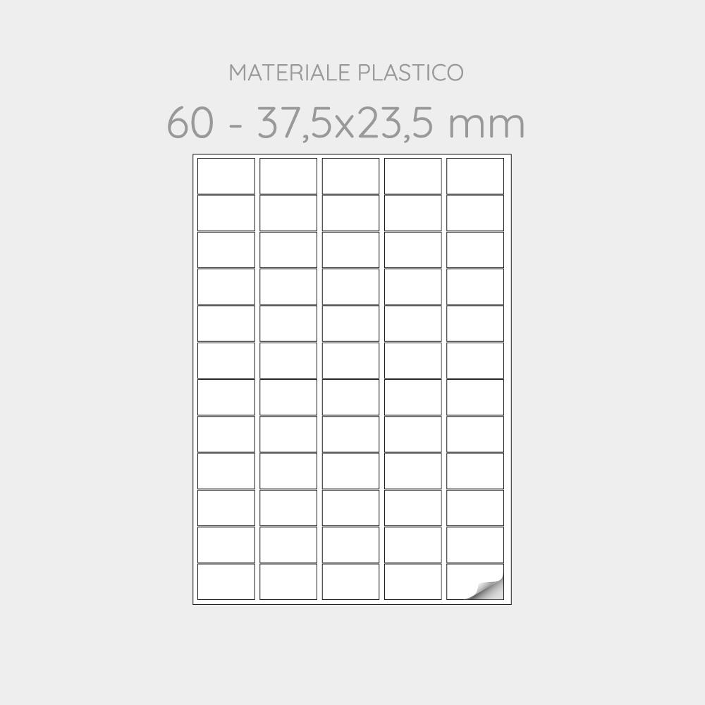 FOGLIO A4 PER STAMPANTI LASER SUDDIVISO IN 60 ETICHETTE 37,5x23,5 mm IN PP -1000 FOGLI