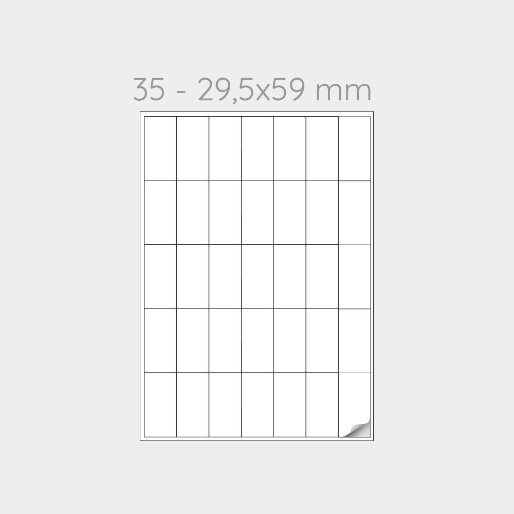 FOGLIO A4 PER STAMPANTI LASER SUDDIVISO IN 35 ETICHETTE  29,5x59 mm -1000 FOGLI