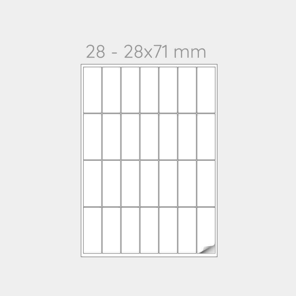 FOGLIO A4 PER STAMPANTI LASER SUDDIVISO IN 28 ETICHETTE  28x71 mm -1000 FOGLI