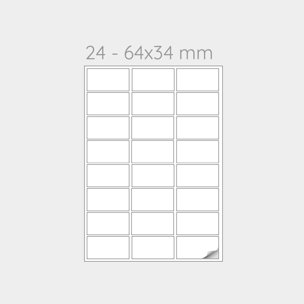 FOGLIO A4 PER STAMPANTI LASER SUDDIVISO IN 24 ETICHETTE 64x34 mm -1000 FOGLI