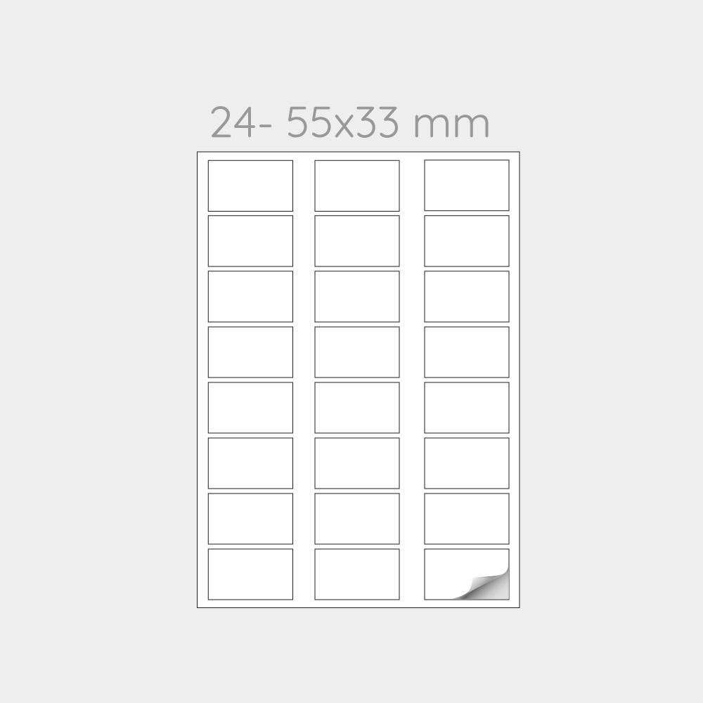 FOGLIO A4 PER STAMPANTI LASER SUDDIVISO IN 24 ETICHETTE 55x33 mm -1000 FOGLI