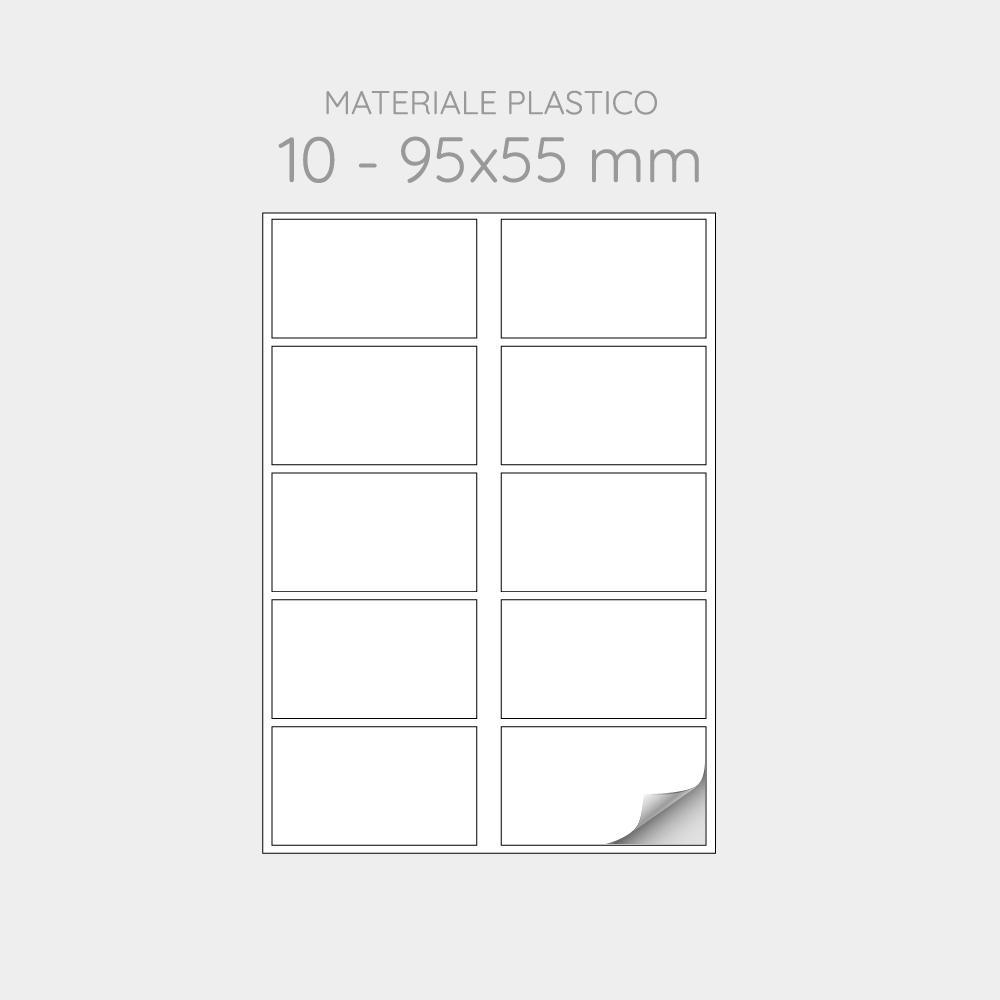 FOGLIO A4 PER STAMPANTI LASER SUDDIVISO IN 10 ETICHETTE 95x55 mm IN PP  - 1000 FOGLI
