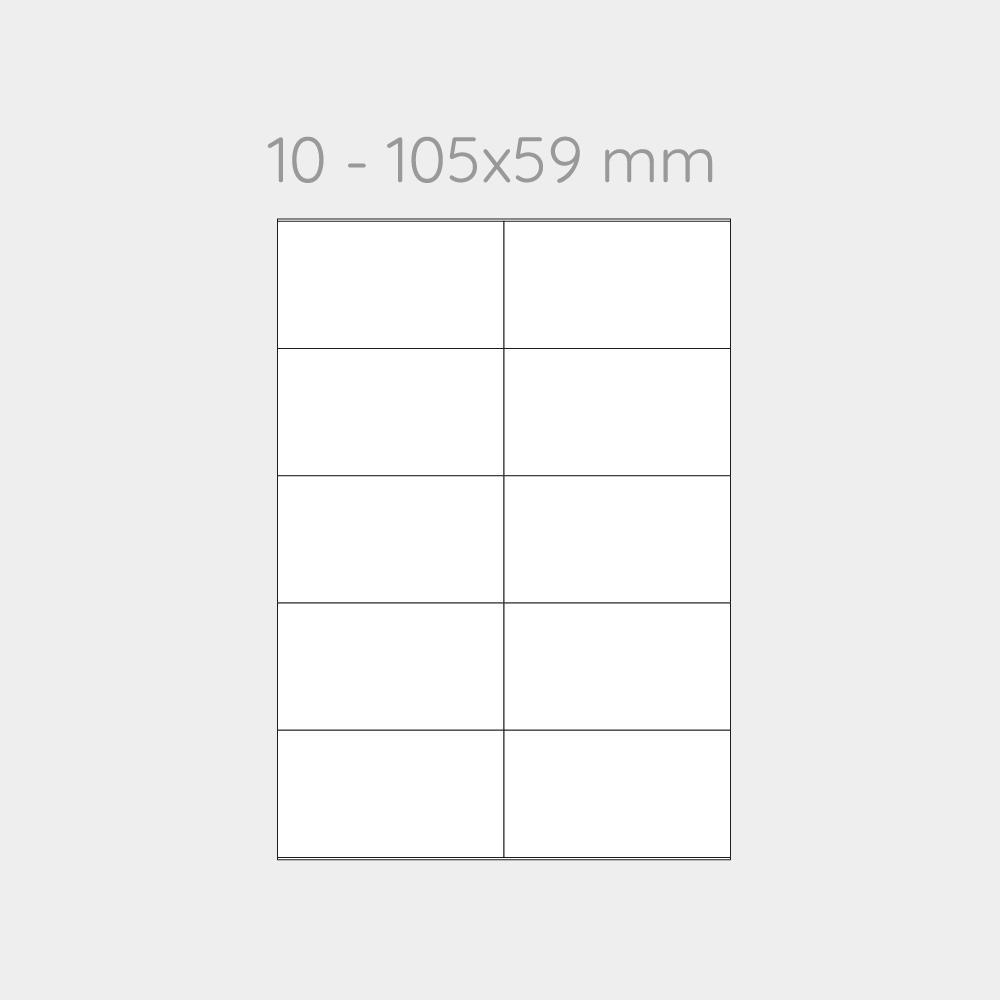 FOGLIO A4 PER STAMPANTI LASER SUDDIVISO IN 10 ETICHETTE 105x59 mm -1000 FOGLI