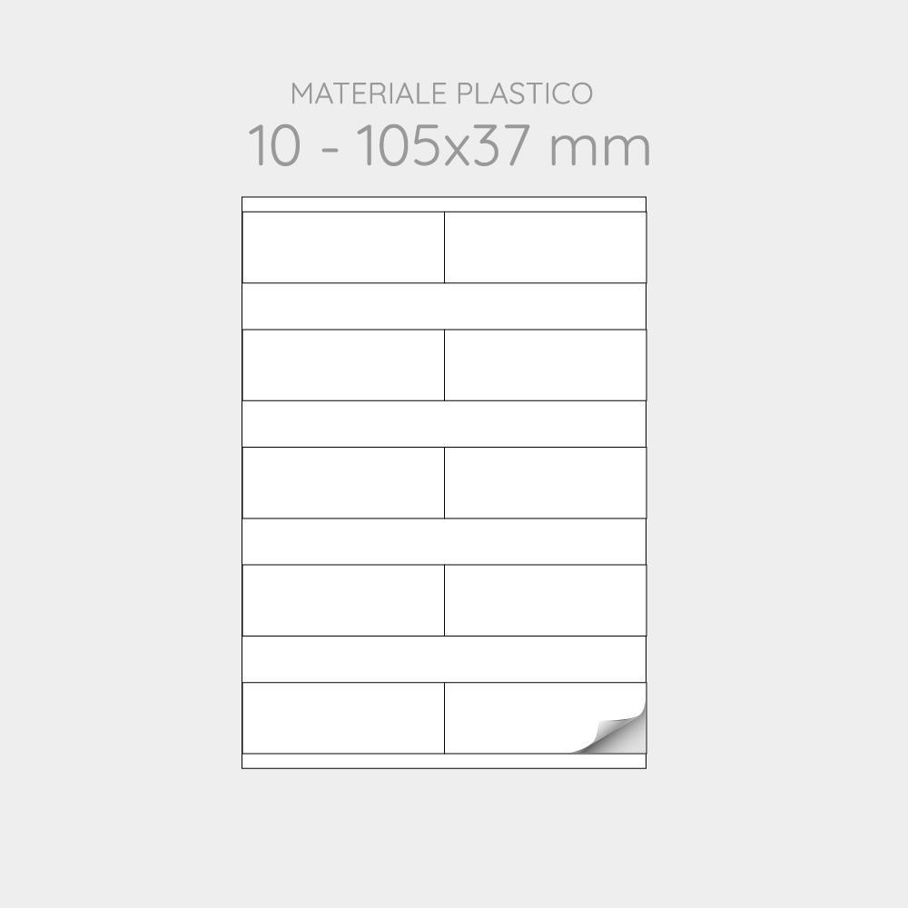 FOGLIO A4 PER STAMPANTI LASER SUDDIVISO IN 10 ETICHETTE 105x37 mm IN PP - 1000 FOGLI