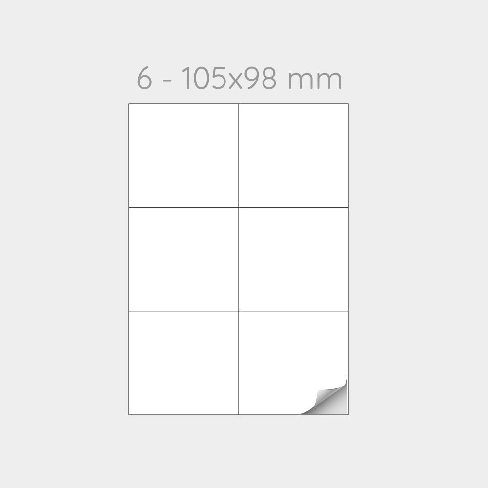FOGLIO A4 PER STAMPANTI LASER SUDDIVISO IN 6 ETICHETTE 105x98 mm  - 1000 FOGLI