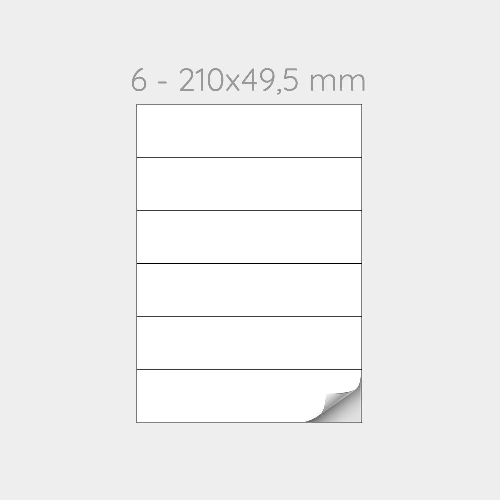 FOGLIO A4 PER STAMPANTI LASER SUDDIVISO IN 6 ETICHETTE 210x49,5 mm  - 1000 FOGLI