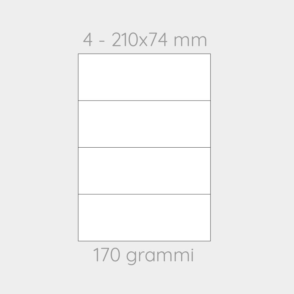 FOGLIO A4 PER STAMPANTI LASER SUDDIVISO IN 4 CARTONCINI 210x74 CON PERFORAZIONE  -1000 FOGLI