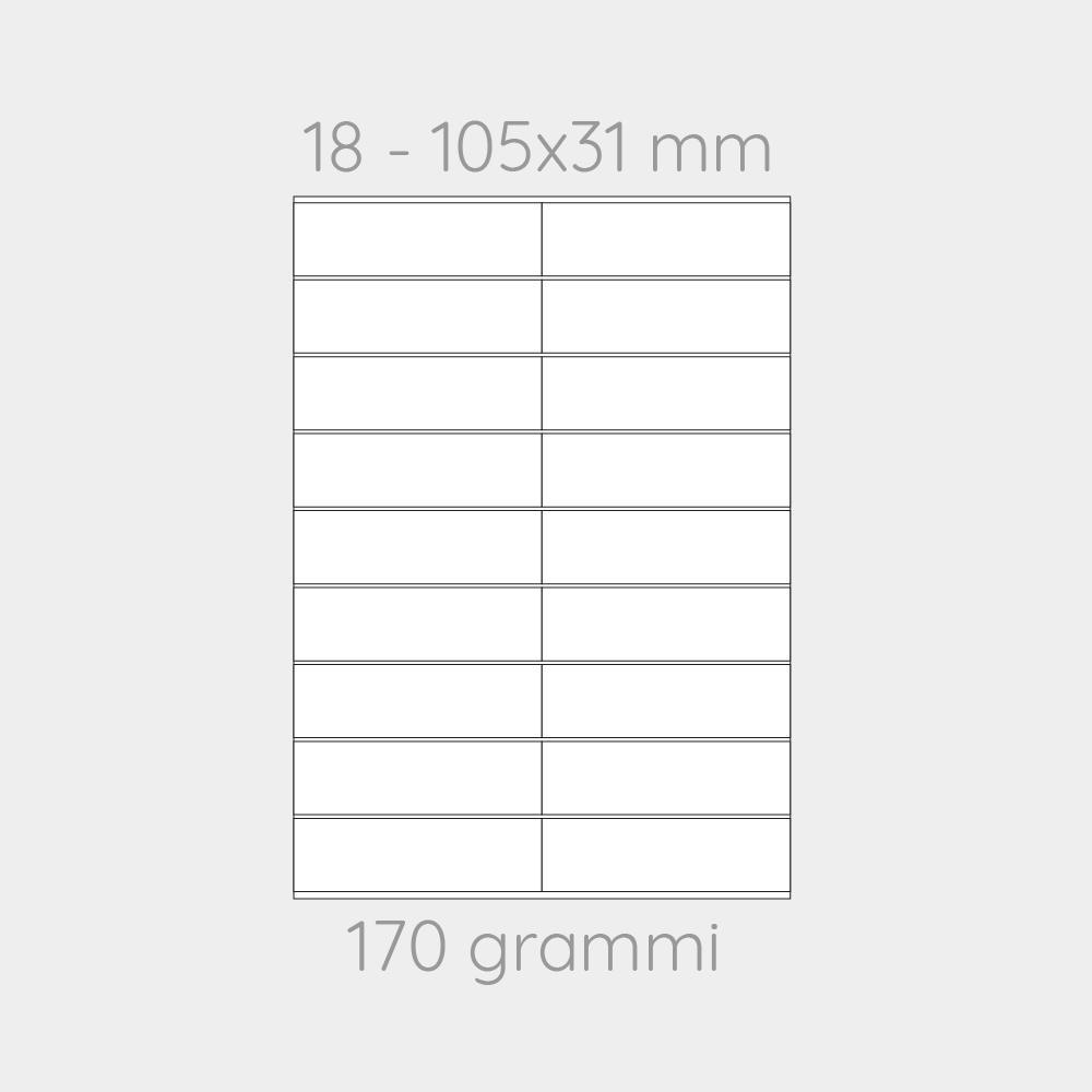 FOGLIO A4 PER STAMPANTI LASER SUDDIVISO IN 18 CARTONCINI 105x31 CON PERFORAZIONI -1000 FOGLI