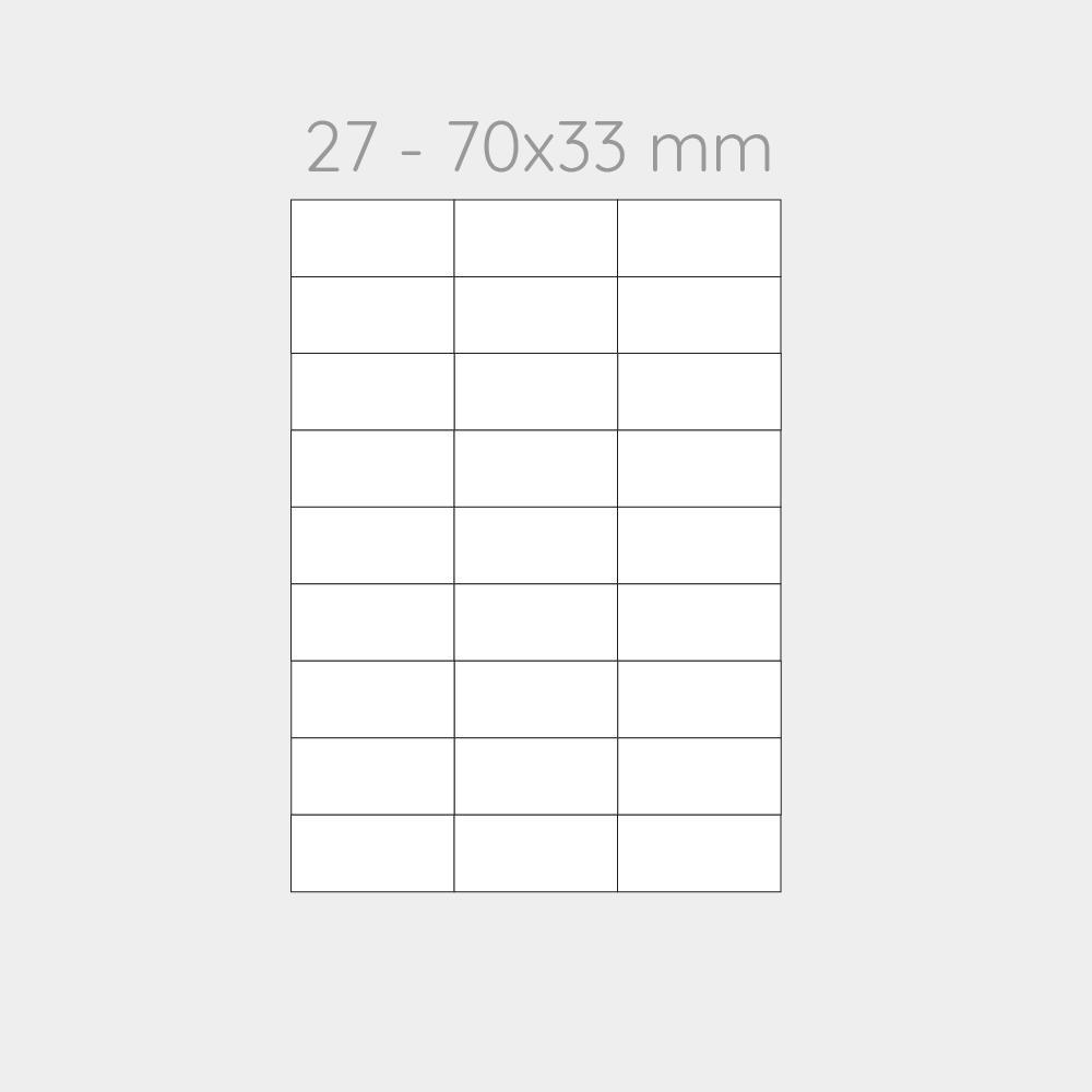 FOGLIO A4 PER STAMPANTI LASER SUDDIVISO IN 27 CARTONCINI 70x33 CON PERFORAZIONE -1000 FOGLI