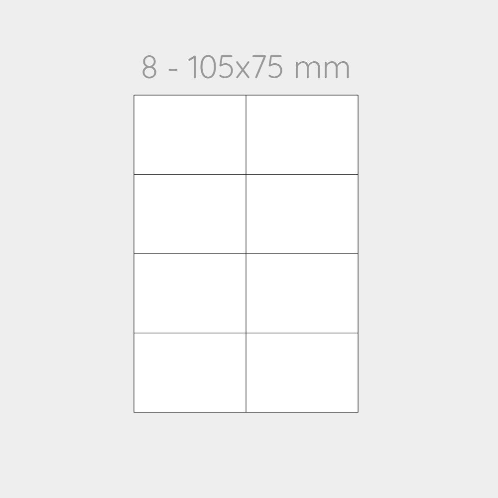 FOGLIO A4 PER STAMPANTI LASER SUDDIVISO IN 8 CARTONCINI 105x75 CON PERFORAZIONI -1000 FOGLI