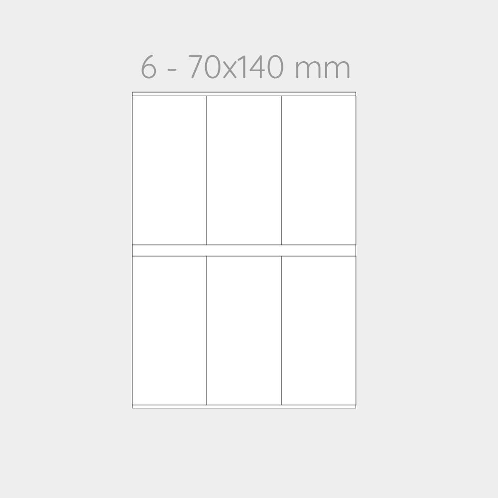 FOGLIO A4 PER STAMPANTI LASER SUDDIVISO IN 6 CARTONCINI 70x140 mm CON PERFORAZIONE -1000 FOGLI