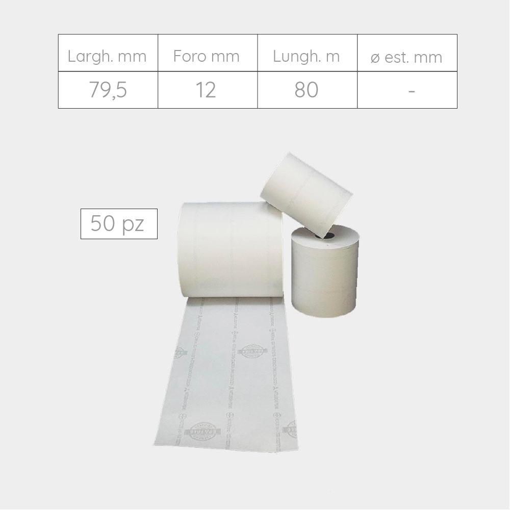 ROTOLI TERMICI OMOLOGATI PER REGISTRATORE TELEMATICO - 79,5 mm X 80 m X foro 12 mm