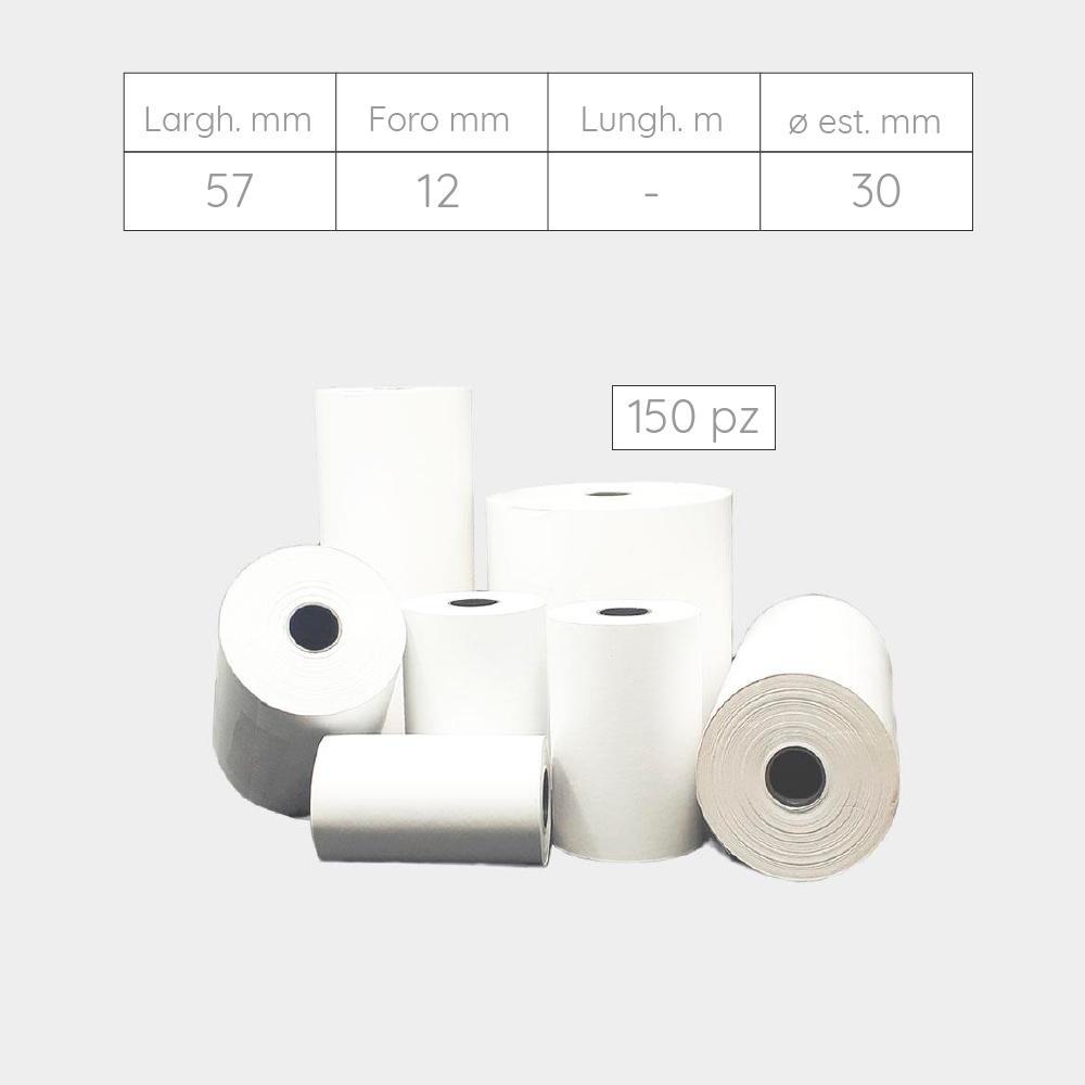 ROTOLI PER POS, TERMINALI E CALCOLATRICI IN CARTA TERMICA - 57 mm X foro 12 mm X 30 mm