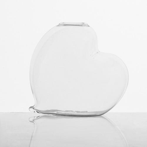 Vaso a forma di cuore 8 cm in cristallo trasparente. Porta fiore, porta essenze, centrotavola