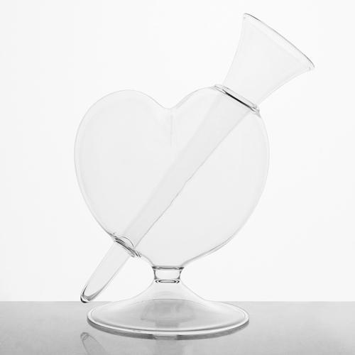 Vaso ampolla portafiori in vetro soffiato a cuore 25 cm con bicchierino per fiori. Vaso decorativo, centrotavola, vaso per fiori
