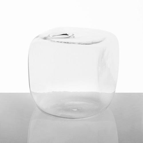 Vaso in vetro trasparente di cristallo a forma di cubo 8 cm. Vaso decorativo,  porta fiori, porta essenze