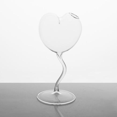Vaso monofiore con stelo a forma di cuore 19 cm vetro soffiato cristallo trasparente. Porta fiore, porta essenze, centrotavola