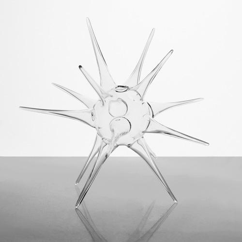 Vaso riccio 20 cm vetro soffiato cristallo trasparente, centro tavola, porta fiori, porta essenze
