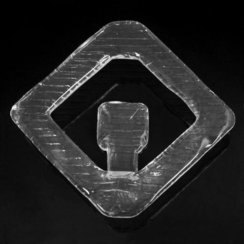 Anello quadro gancio in vetro 14x14 cm colore cristallo puro per tende di vetro e lampadari