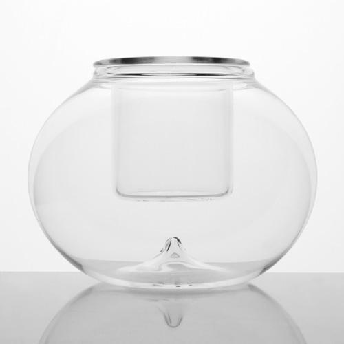 Boccia in vetro a sfera liscia Ø12 cm con bicchierino interno, vaso, porta candela, porta essenza, segnaposto