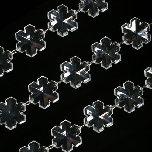 Catena ghirlanda di fiocchi di neve 33 mm in cristallo acrilico colore puro, clip nickel, lunghezza 50 cm