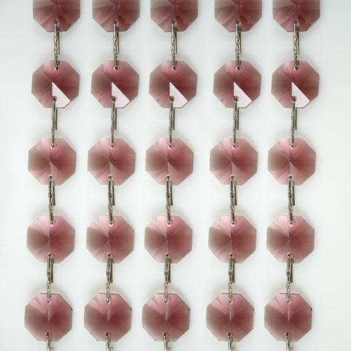 Catena ottagoni 14 mm in cristallo ametista chiaro, lunghezza 50 cm. Clip nickel.