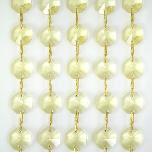 Catena ottagoni 14 mm in cristallo giallo chiaro, lunghezza 50 cm, clip ottone.