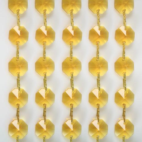 Catena ottagoni 14 mm in cristallo giallo, lunghezza 50 cm, clip ottone.