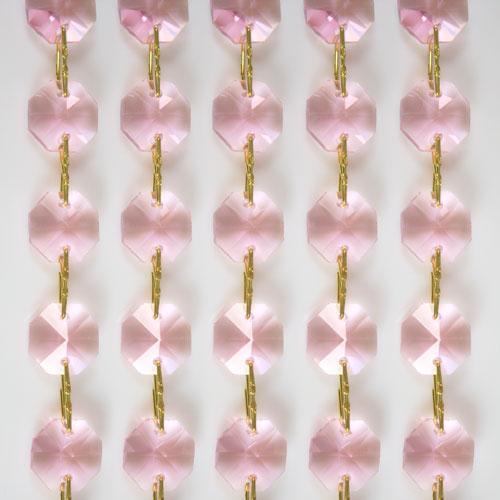 Catena ottagoni 14 mm in cristallo rosa, lunghezza 50 cm, clip ottone.