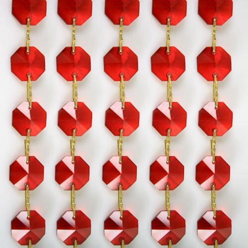 Catena ottagoni 14 mm in cristallo rosso, lunghezza 50 cm, clip ottone.