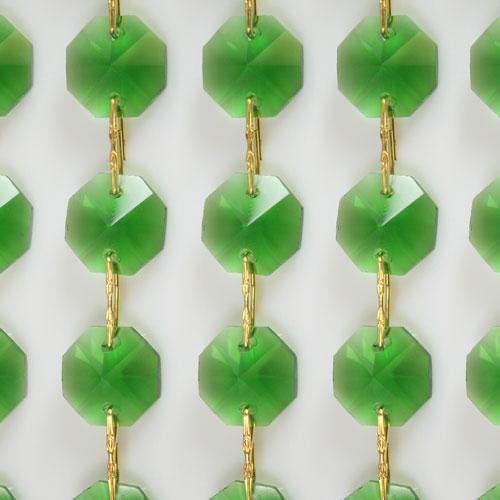 Catena ottagoni 20 mm in cristallo colore verde lunghezza 50 cm, clip ottone.