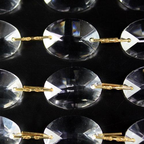 Catena ovalini 24 mm cristallo, 50 cm di lunghezza, colore puro. Clip ottone.