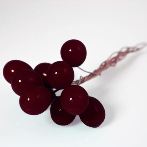 Chicco Ø16 mm con filo di rame, vetro di Murano color rosso scuro in fogo.