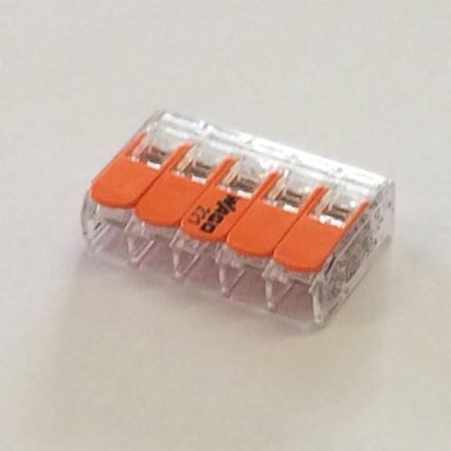 Connettore elettrico 5 poli grigio 4 mmq - art. 221-415 Wago
