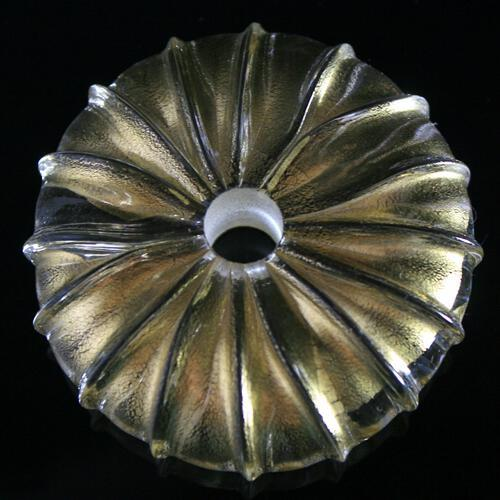 Distanziatore in vetro di Murano screziato in foglia oro, Ø65 mm.