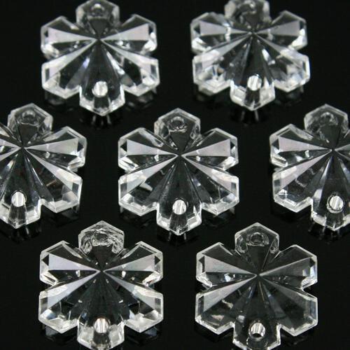 Fiocco di neve 14 mm, vetro cristallo doppio foro