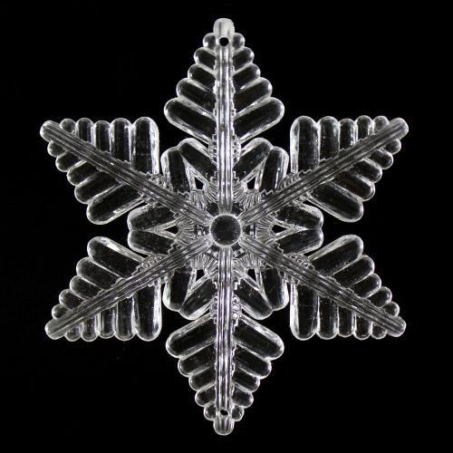 Fiocco di neve pieno 100 mm cristallo acrilico sfaccettato 2 fori, colore puro.
