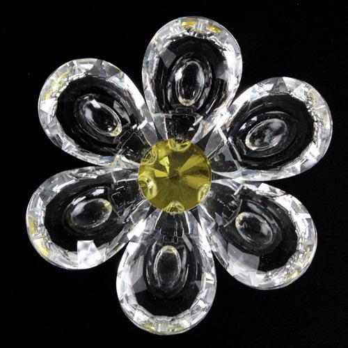 Fiore Peonia in cristallo con petali cristallo e centrale giallo. Attacco filetto M6