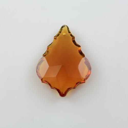Foglia barocca 38 mm ambra, pendaglio cristallo vetro molato