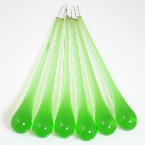 Goccia pendente 16 cm vetro di Murano verde chiaro